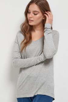Slouch V-Neck Long Sleeve T-Shirt