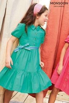 Monsoon Green Puff Sleeve Belted Shirt Dress