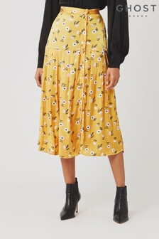 Ghost London Yellow Sara Floral Print Satin Skirt