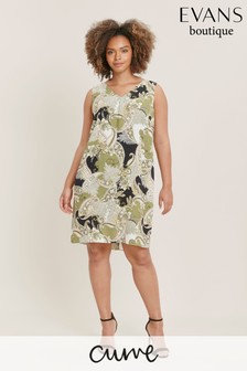 Evans Curve Lime Paisley Print Shift Dress