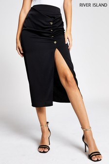 River Island Black Barbie Midi Skirt