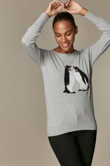 Wallis Sequin Penguin Jumper