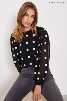 Mint Velvet Black Embroidered Spot Top