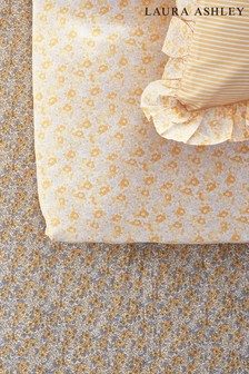 Set of 2 Yellow Libby Ditsy Floral Ruffle Organic Cotton Fitted Sheets