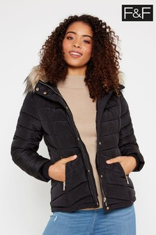 F&F Black Short Padded Jacket