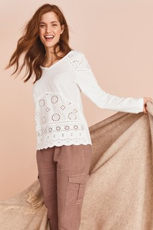 Broderie Cotton Long Sleeve T-Shirt