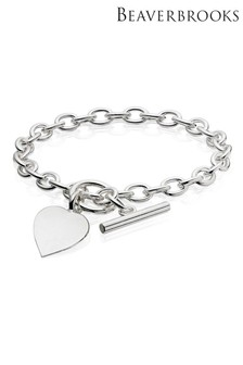Beaverbrooks Silver Belcher Heart Bracelet