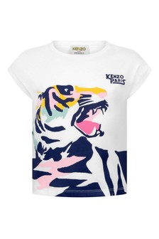 Girls White Cotton Jersey Tiger T-Shirt