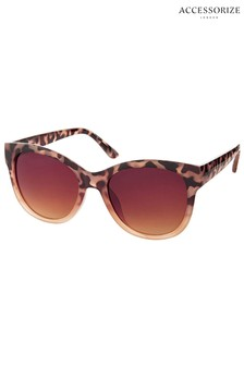 Accessorize Brown Waverly Half Tort Wayfarer Sunglasses