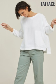 FatFace White Betty Linen Blend Popover T-Shirt