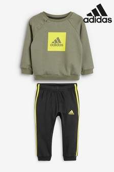 adidas Infant Green/Yellow Crew And Jogger Set