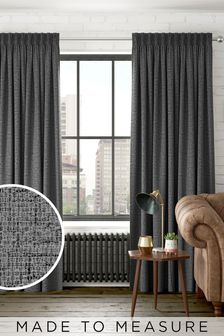 Charcoal Chunky Weave Made To Measure Curtains