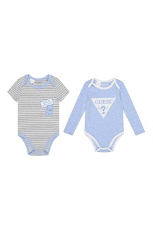 Baby Boys Blue/Grey Striped Cotton Bodysuits Two Pack