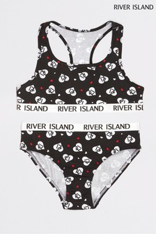 River Island Red Heart Mono Racer Bra And Briefs Set