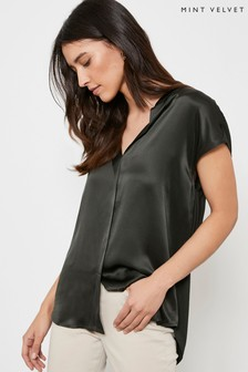 Mint Velvet Green Khaki Silk Satin Front Top