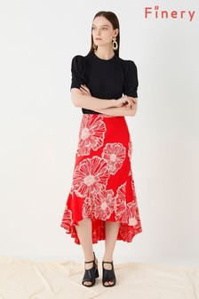 Finery London Pink Mardale Slip In Coral Poppies Print Skirt