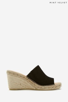 Mint Velvet Julia Black Leather Mules