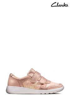 Clarks Pink Scape Spirit K Velcro Shoes
