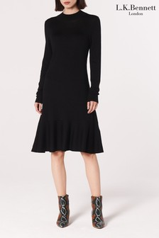 L.K. Bennett Black Flossy Wool Dress