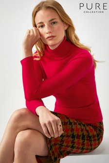 Pure Collection Red Cashmere Roll Neck Sweater