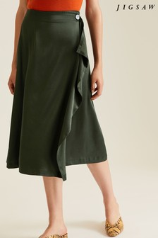 Jigsaw Green Waterfall Midi Skirt