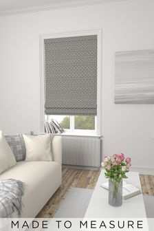 Made To Measure Silver Woven Geo Roman Blind