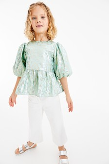 Puff Sleeve Animal Blouse With Silk (3-16yrs)
