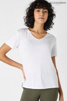 Accessorize White Plain V-Neck T-Shirt