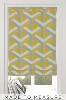 Made To Measure Ochre Optical Geo Jacquard Roman Blind