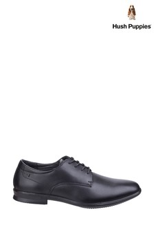 Hush Puppies Black Cale Oxford Plain Toe Shoes
