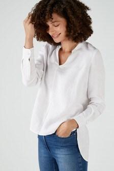 Pure Collection White Linen V-Neck Blouse