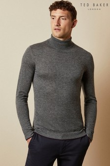 Ted Baker Grey Newtrik Fitted Roll Neck Jumper