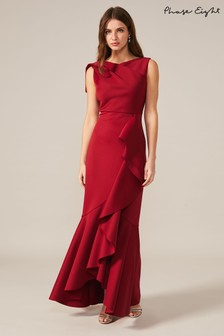 Phase Eight Red Devita Frill Scuba Dress
