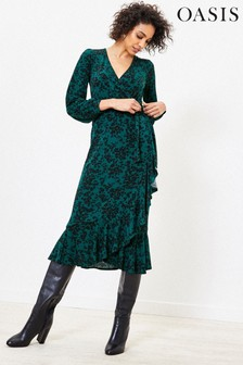 Oasis Green Leopard Wrap Midi Dress