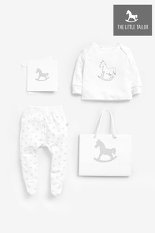 The Little Tailor White Jersey Top & Pants Gift Set