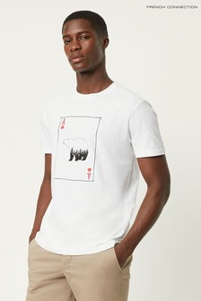 French Connection White Playing Card Bear T-Shirt