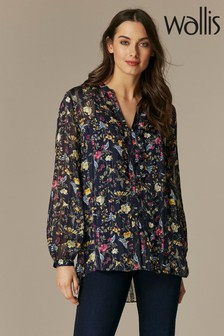 Wallis Ink Floral Metallic Ruffle Front Shirt