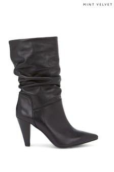 Mint Velvet Harley Black Slouch Boots