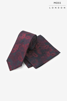 Moss London Burgundy & Navy Tonal Flower Tie And Pocket Square Set