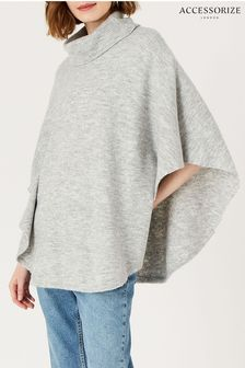 Accessorize Grey Cosy Knit Pullover Poncho
