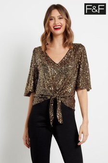 F&F Gold Tie Front Sequin Top