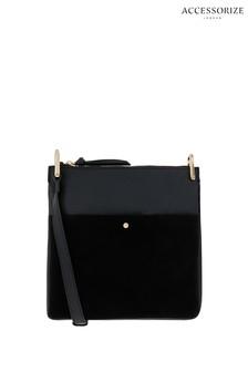 Accessorize Black Alessie Zip Leather Messenger Bag