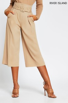 River Island Cream Beige Dark High Waisted Belted Culottes