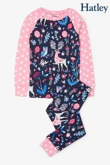 Hatley Blue Nordic Forest Organic Cotton Raglan Pyjama Set