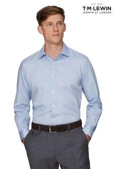 T.M. Lewin Blue Dobby Check Slim Fit Single Cuff Shirt