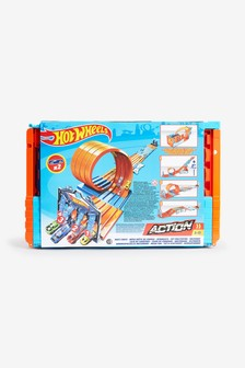 Hot Wheels Builder Race Crate Connectable Track Set With Loops 2 Diecast And Mini Toy Cars
