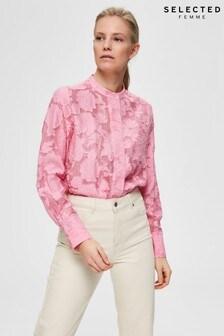 Selected Femme Pink Rosebloom Floral Shirt