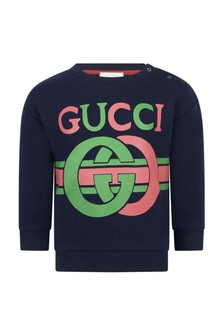GUCCI Kids Baby Navy Cotton GG Sweater