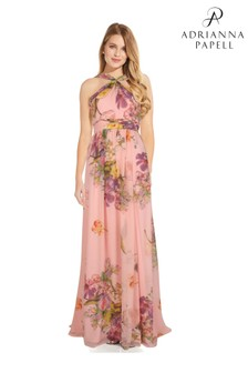 Adrianna Papell Pink Floral Printed Chiffon Gown