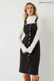 Warehouse Black Denim Midi Pinafore Dress